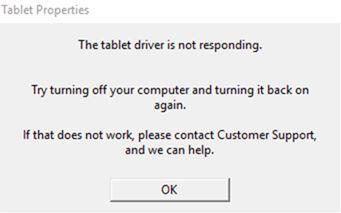 Service client de Wacom| Wacom - What does the error message \u201cThe